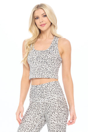 Kendall - Abstract Grey Cheetah Compression Crop Tank Activewear