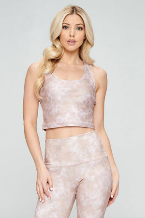 Kendall - Besmirch Mauve Tie Dye Compression Crop Tank Activewear