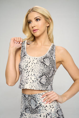 Kendall - Croc Sequin Compression Crop Tank Activewear