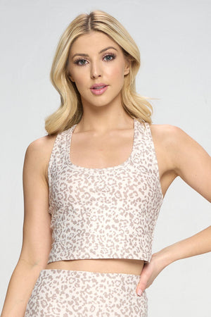 Kendall - Snow Taupe Cheetah Compression Crop Tank Tops