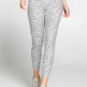 Mia -  Abstract Grey Cheetah Print 7/8 (High-Waist)