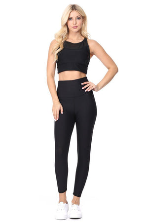 Mia - Plain Black Brushed 7/8 (HW) Activewear