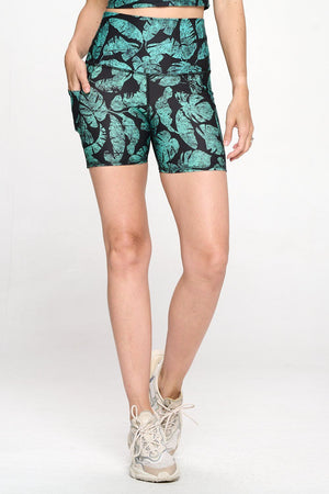 "Mia Short - Amazon Palm Leaves w Pockets 5"" (HW) Activewear"