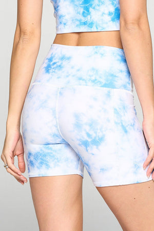 "Mia Short - Blue Cloud Shorts w Pockets 5"" (HW) Activewear"