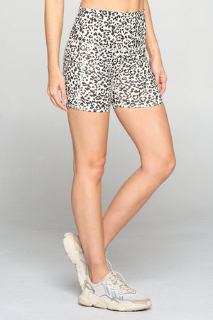 "Mia Short - Cream Abstract Cheetah Airbrush Shorts w Pockets 5"" (HW) Activewear"