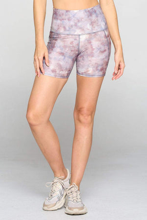 "Mia Short - Lavender Watercolor Shorts w Pockets 5"" (HW) Activewear"