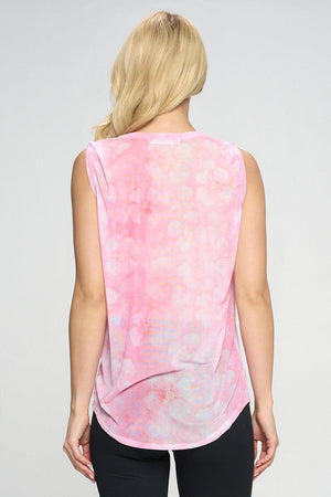 Ruby - Pink Marble Floral Mesh Tank Tops