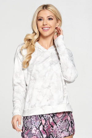 Sabeena - Ivory French Terry Crop Tie Dye Hoodie Activewear