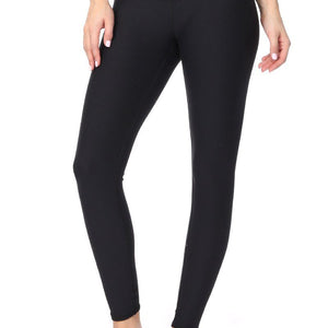 Sofia - Plain Black Brushed 7/8 Legging (Regular-Waist)
