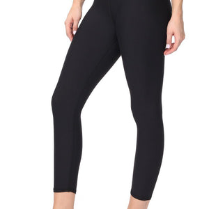 Valerie - Plain Black Brushed Capri (Regular-Waist)