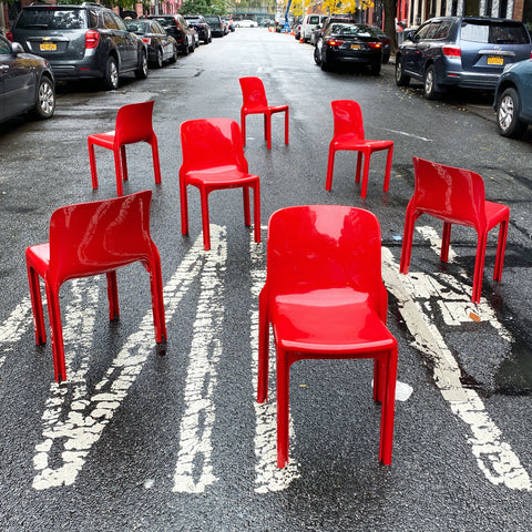 Vico Magistretti Red Selene Chairs