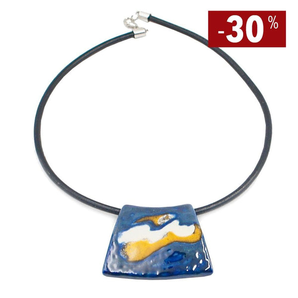 "Collier artisanal en céramique I Direct du Portugal Collier en céramique sur cuir ""Manhã Azul"""