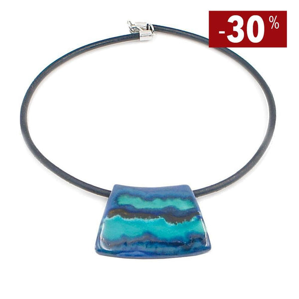 "Collier artisanal en céramique I Direct du Portugal Collier en céramique sur cuir ""Mar Azul"""