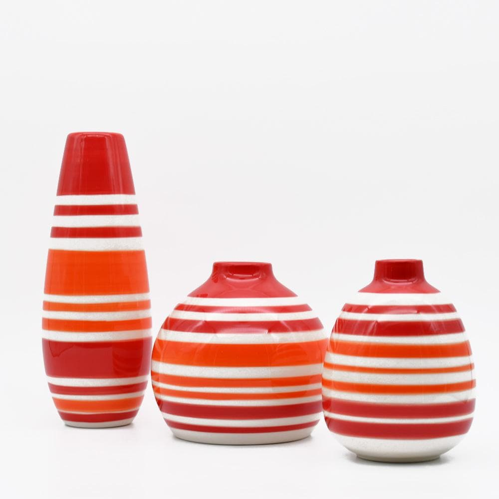 Ensemble de 3 soliflores rouges oranges I Vases en céramique du Portugal Ensemble de 3 soliflores rouges