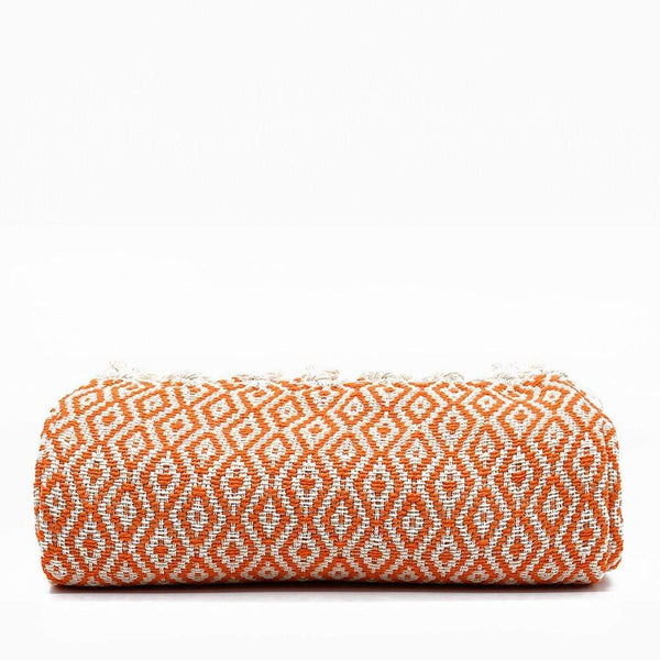 Grand plaid à franges en coton orange Plaid à franges en coton 200x135 - Orange