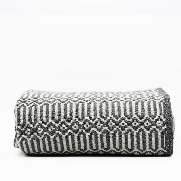 Grand plaid en coton gris foncé tissé au Portugal Plaid en coton 210X140 - Gris
