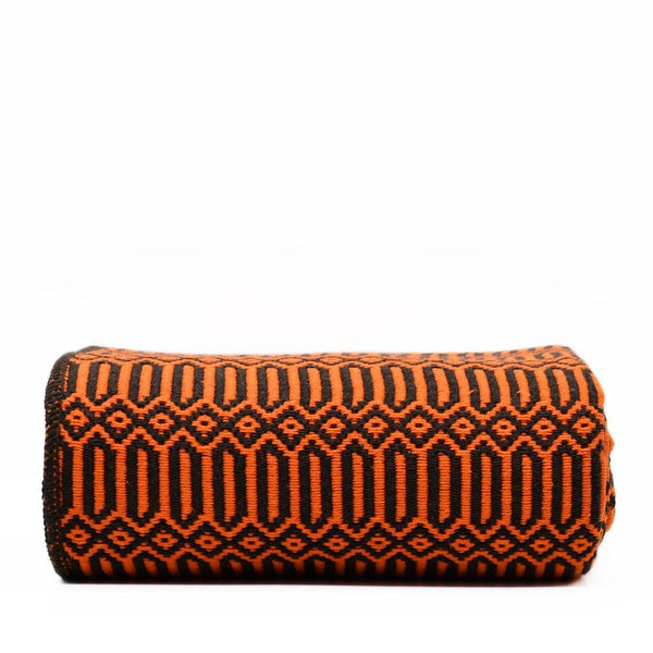 Grand plaid en coton orange et noir tissé au Portugal Plaid en coton 210X140 - Orange & Noir