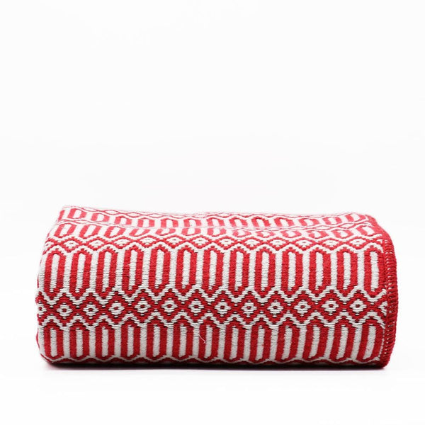 Grand plaid en coton rouge tissé au Portugal Plaid en coton 210X110 - Rouge
