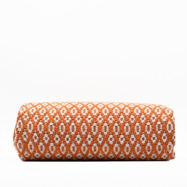 Plaid en laine et fibres naturelles orange I Textile du Portugal Plaid en laine 200x135 - Orange