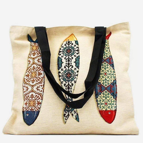 "Tote bag portugais avec illustrations de sardines Tote bag patchwork ""Sardinhas"""