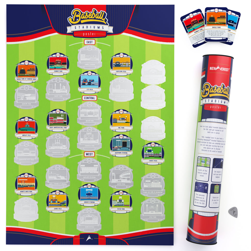 Newverest Major League Ballpark Scratch Off Poster