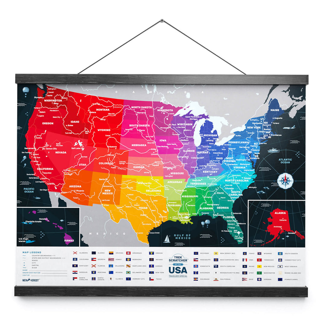 Newverest Wood Scratch-Off Map Frame 24 Inches (Black)