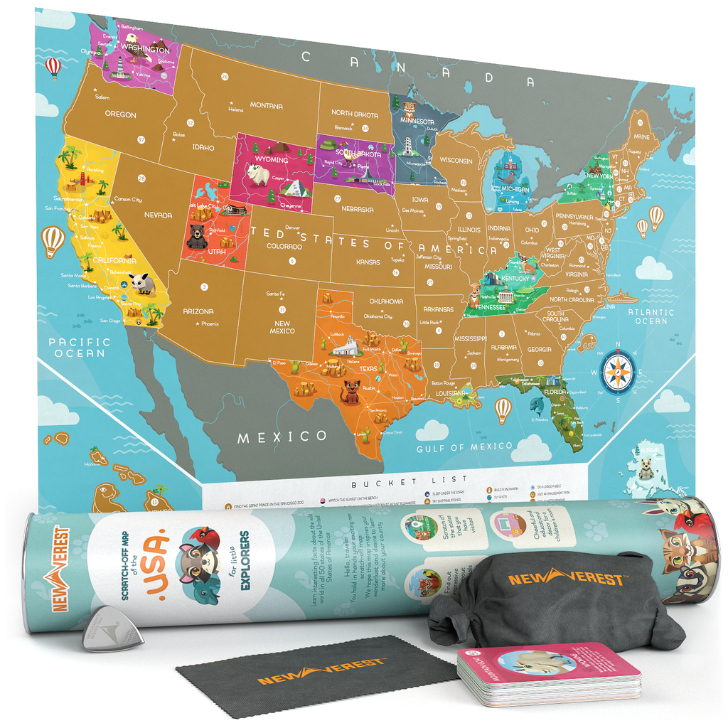 Newverest Scratch Off USA Map - Kids Edition