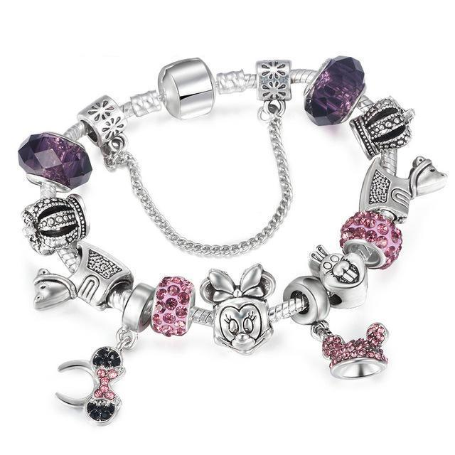Pulseira Estilo Pandora Berloques Disney Collection - importadostore
