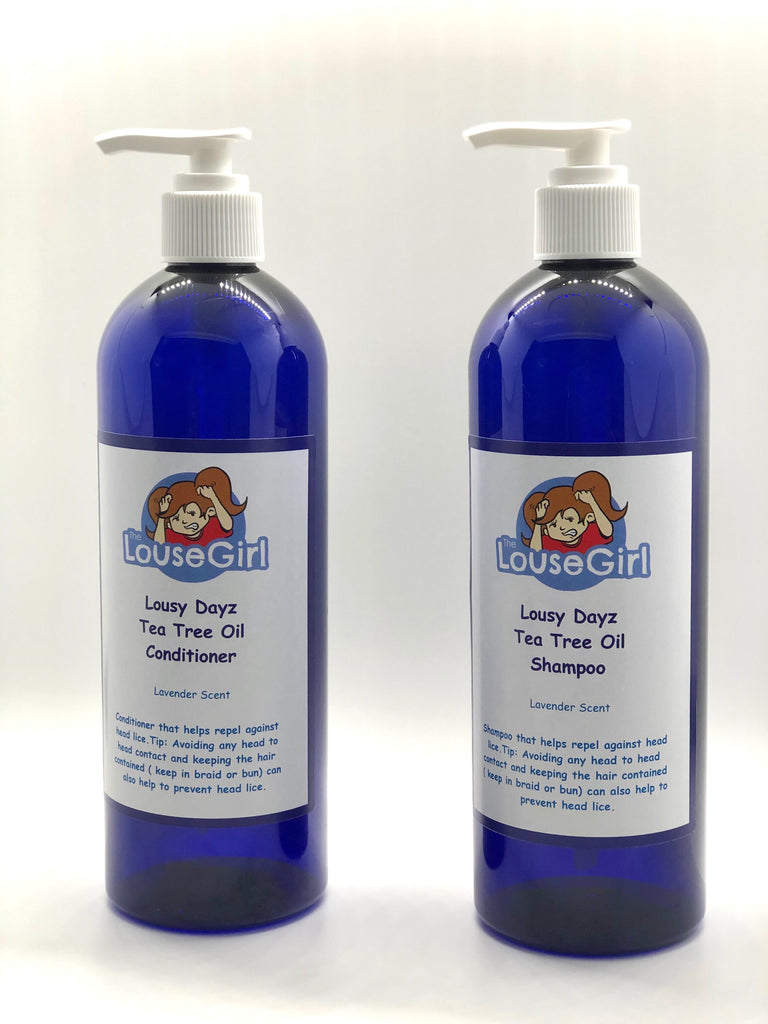 Large tea tree oil lice shampoo and conditioner that repels against head lice