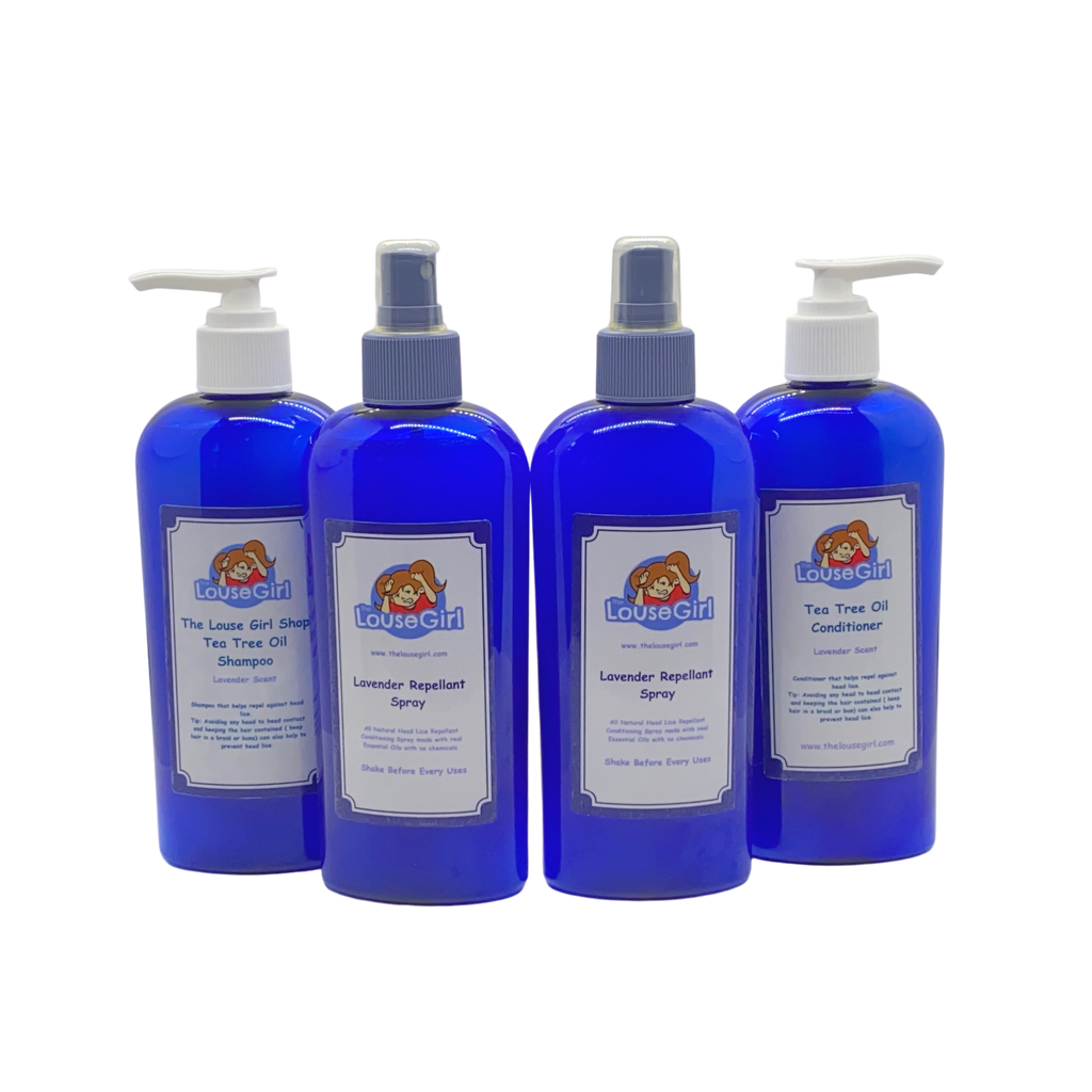 Prevention Pack that includes 8oz tea tree oil shampoo and conditioner and two 8oz tea tree oil repellent sprays.. The pack helps prevent and repels against head lice.