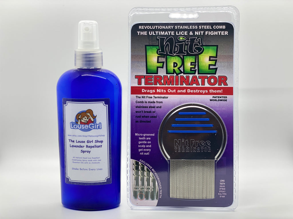 Lice Kit that includes Tea Tree Oil Repellent Spray and Terminator lice comb.