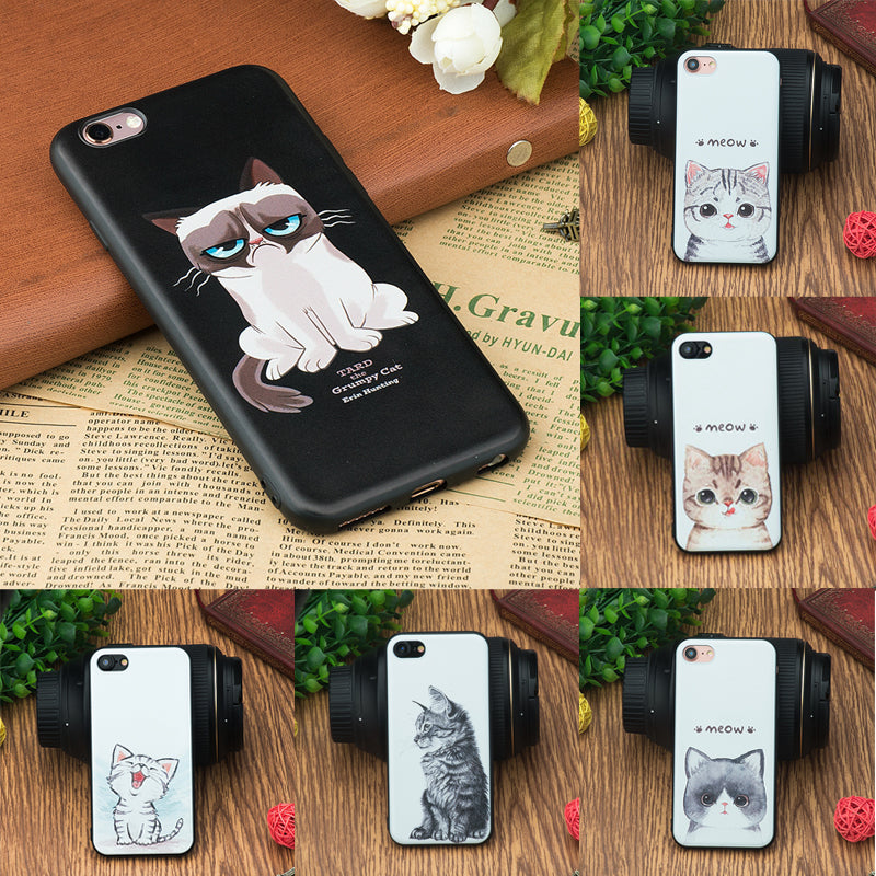 Cat Patterned Silicon Phone Case Cover for iPhone 7 6 6S 8 Plus X SE 5 5S IT IS FREE!!
