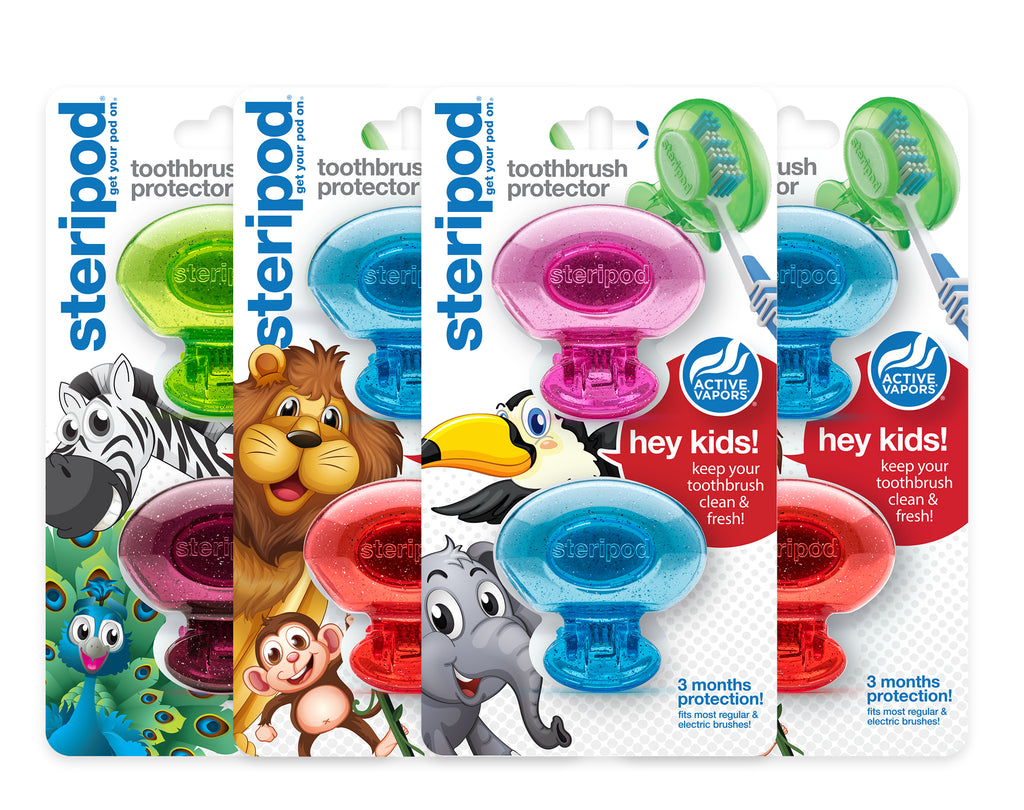 Kids Double Toothbrush Protector Kit (Set of 8 Pods)