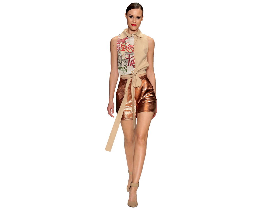 Graffiti Collar Tie Top & Copper Shorts - Unapologetic Shop