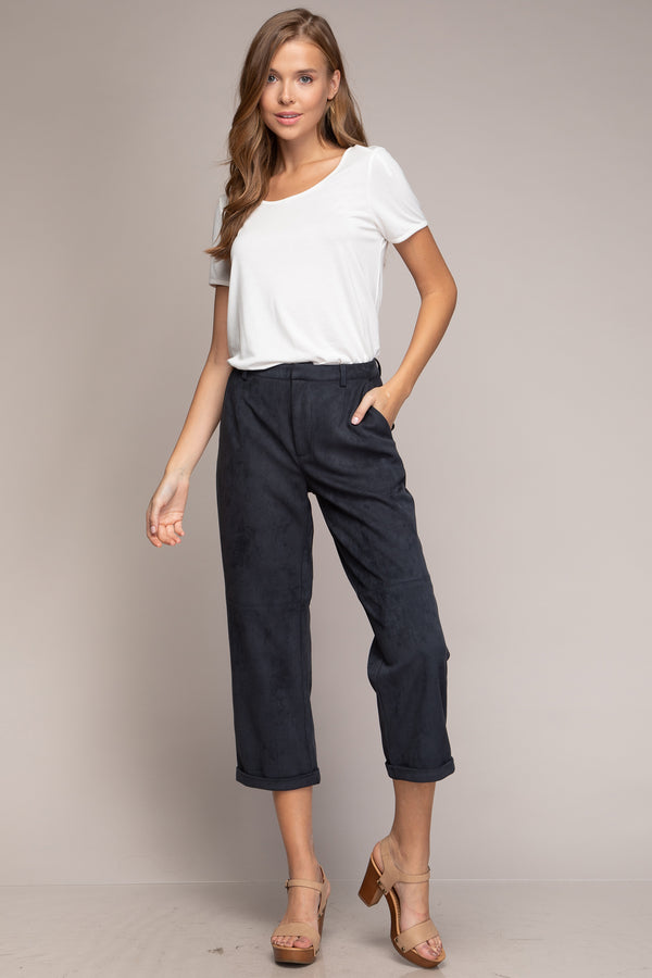 Suede Cropped Cuff Pant - Unapologetic Shop