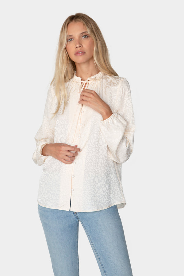 Ruffle Peasant Button Front Blouse - Unapologetic Shop