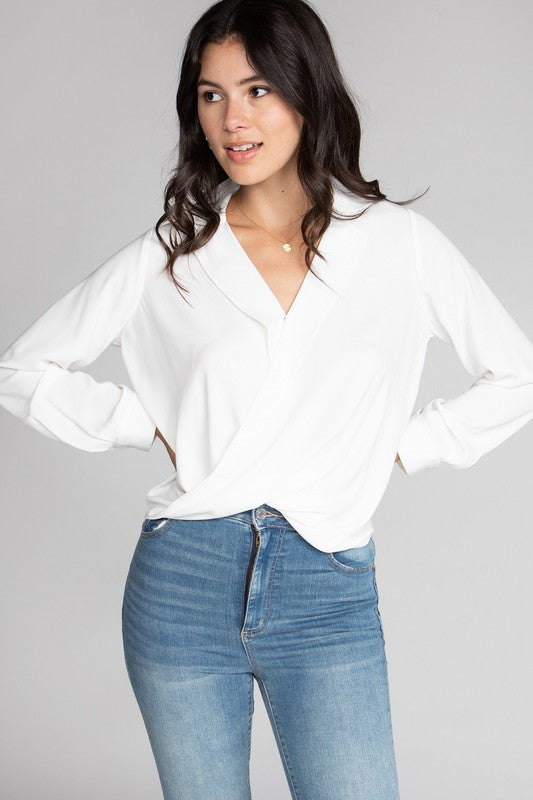 V-neck Wrap Blouse