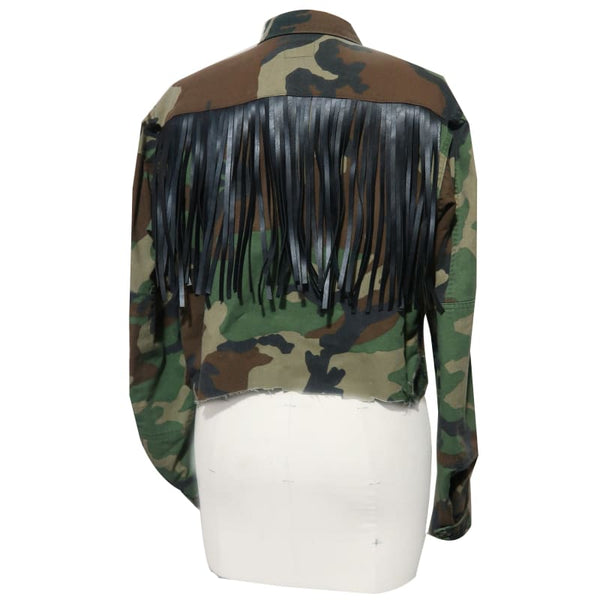 'Camo Fringe' Canvas Jacket - Unapologetic Shop