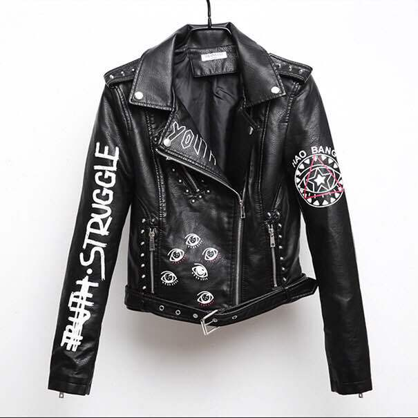 Faux Leather Graffiti Jacket - Unapologetic Shop
