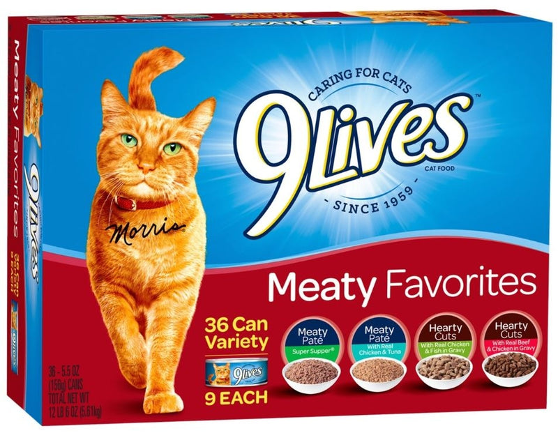 9 Lives Meaty Favorites Variety Pack Canned Cat Food