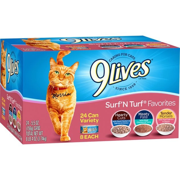 9 Lives Surf N' Turf Favorites Variety Pack Canned Cat Food