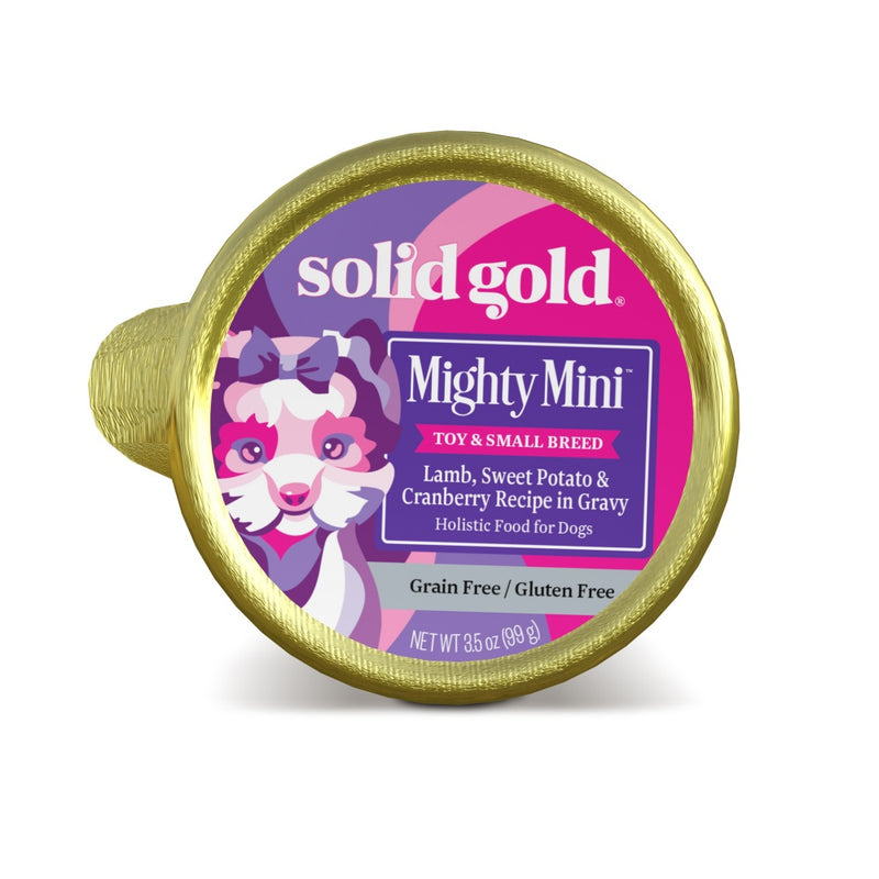Solid Gold Mighty Mini Grain Free Toy and Small Breed Recipe with Lamb, Sweet Potato & Cranberry Wet Dog Food Tray