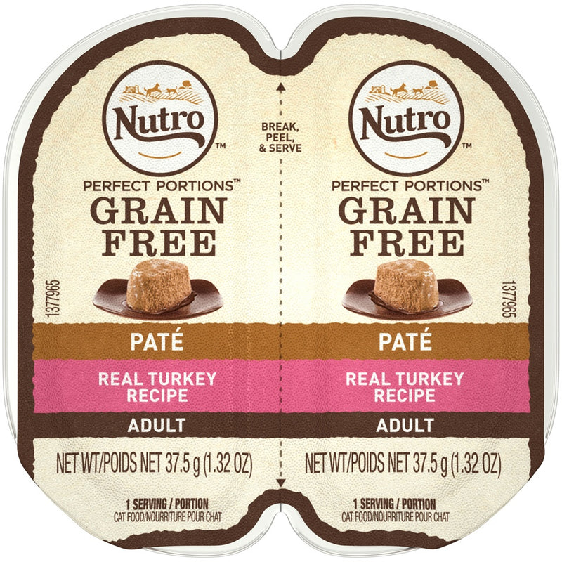 Nutro Perfect Portions Adult Grain Free Turkey Pate Wet Cat Food Trays