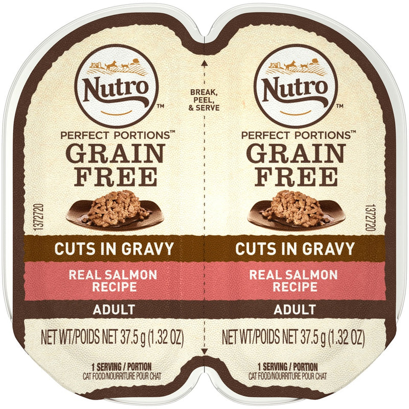 Nutro Perfect Portions Grain Free Cuts In Gravy Real Salmon Recipe Wet Cat Food Trays