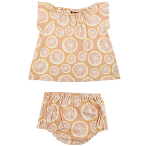 Organic Dress & Bloomers - Grapefruit