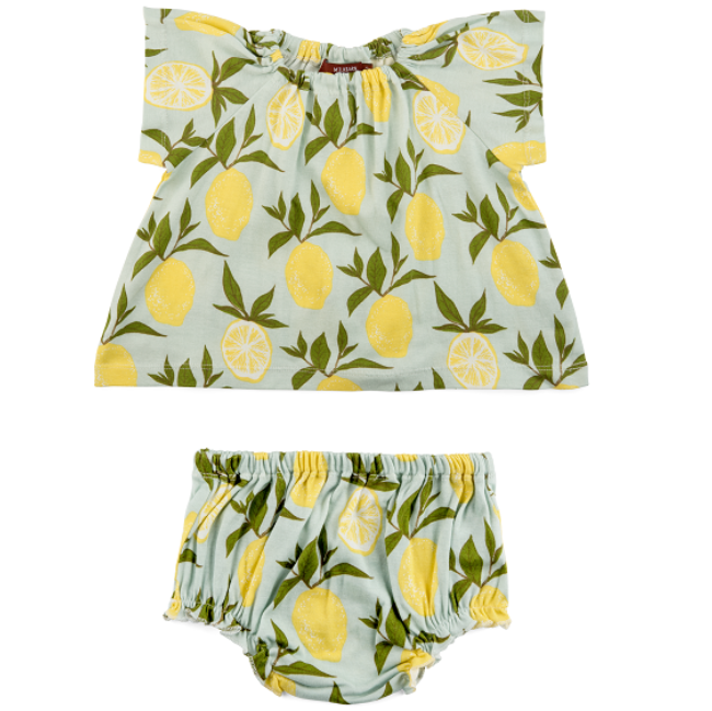 Organic Dress & Bloomers - Lemon