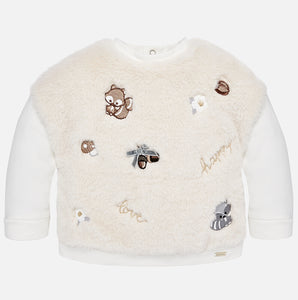 Embroidered faux fur sweatshirt  2431
