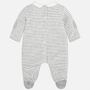 Striped Polar Bear Velour Romper 2720