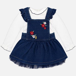 Denim skirted overalls Set 2876