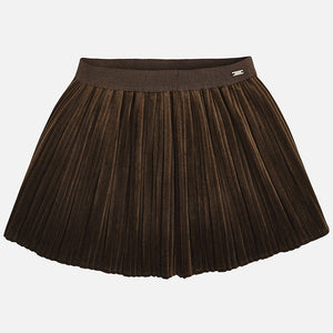 Pleated Velvet Skirt 4920 Mocha